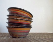 Set of Five Small Vintage Hand Turned Striped Wooden Bowls