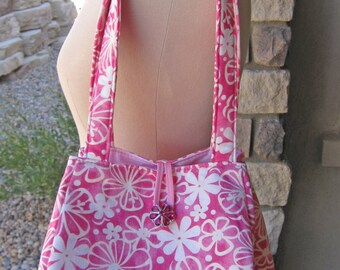 Over the Shoulder Pink Floral Cotton Purse