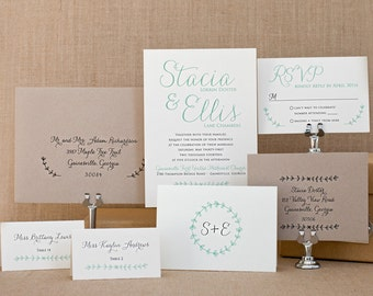 Laurel Wedding Invitation Set Sample - Rustic Wedding Invitation Suite - Mint Invitations - Laurel Wreath Design