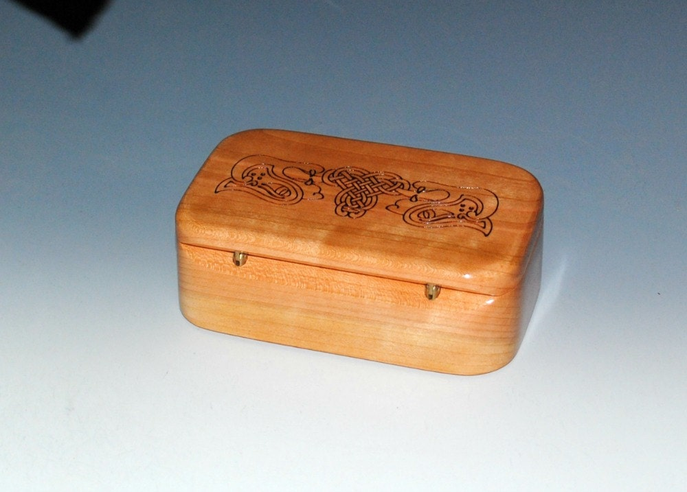 handmade wooden trinket box cherry with celtic dogs sale small wood box wood jewelry box. Black Bedroom Furniture Sets. Home Design Ideas