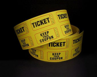 25 Yellow Tickets, Raffle Tickets, Yellow Raffle Tickets, Scrapbook Supply, Door Prize Tickets, Double Row Tickets, 2 Part Tickets, Wedding