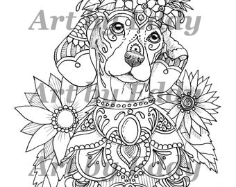 art of dachshund single coloring page - Dachshund Coloring Pages Print