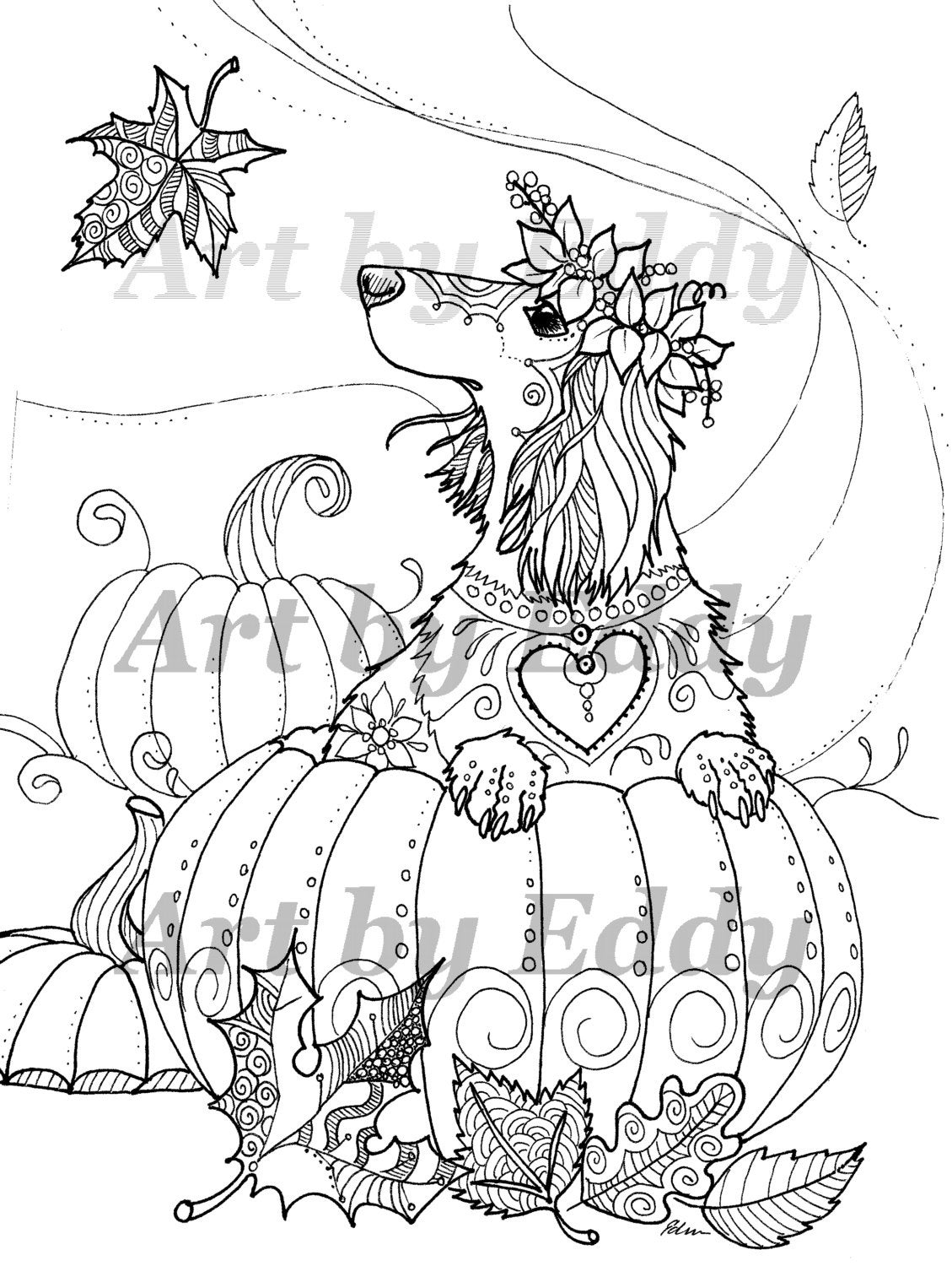 daschunds coloring pages   Art of Dachshund Single Coloring Page Harvest Doxie