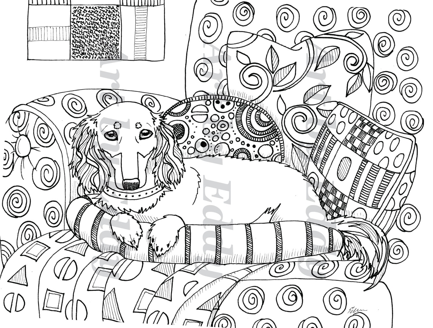 Art of Dachshund Single Coloring Page Klimt Inspired Doxie