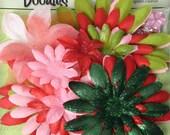 "25pc JOLLY CHRISTMAS Pink Red Green Fabric Flower Layers Petals 1.5-4"" PETALOO 1292-502"