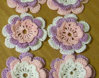 6 flowers crocheted appliques scrapbooking sewn on home decor handmade embellishments