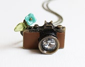 Brown Leather Camera Necklace. spring collection, vintage wedding, bridesmaid gift, birthday, friendship