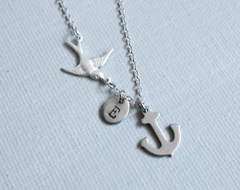 Anchor with Flying Bird Necklace. stainless steel anchor charm with flying sparrow and personalized Initial tag, monogram jewelry