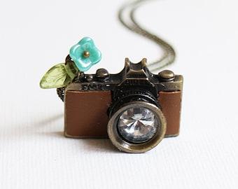 Camera Necklace. brown leather camera necklace. miniature camera necklace. vintage wedding bridesmaid gift. birthday. friendship necklace