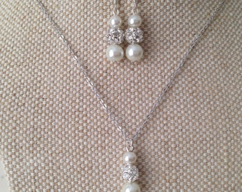 Bridal Necklace and Earring Sets, Pretty pearl and rhinestone graduated necklaces & drop earrings