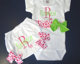Creeper and Diaper Cover Monogrammed or Personalized Baby Gift Set, Bloomers, Bodysuit, Baby Gift, Baby Girl Gift Set, Baby Gift for Girls