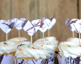 Winter Snow Camo Heart Cupcake Picks, Realtree Hardwoods camouflage dessert toppers