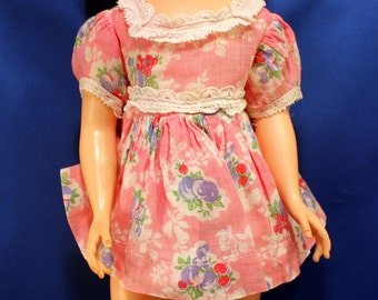 Vintage Doll Clothes Pink and Blue Pattern Dress Original Factory Made Medium Size 1950s