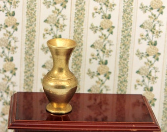 Miniature Brass Vase Scale Dollhouse Decor Accessory