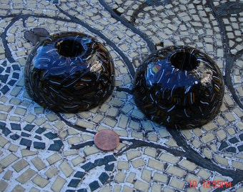 Hand Crafted Black Glass Candle Holders (2) - The Millefiori Collection - Lenox Collection