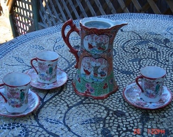 Antique Japanese Porcelain Chocolate/Teapot with Demitasse Cups and Saucers  - Lovely
