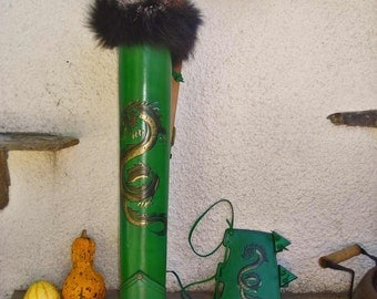 Archery Leather Set Hand Tooled Greeen Leather Golden Dragon
