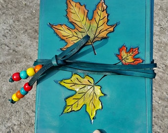 Rustic Leather Journal Turquoise Autumn Leafs - Hand Tooled and Hand Bond