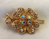 Ultra Petite Gold Floral Vintage Crystal Hair Alligator Prong Clippies Set of 2
