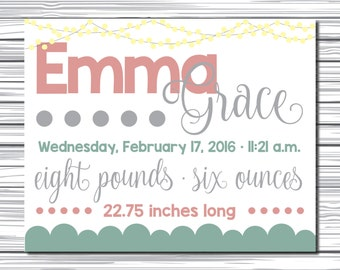 Custom Baby Announcement Sign - Name, Birthdate, Weight, Length Nursery Art - Printable Download
