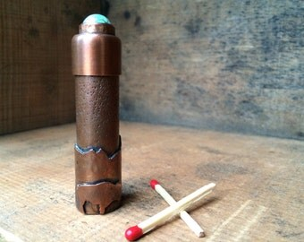 Outdoor Gear Match Stick Carrier With Bezel set Turquoise With Mountains and Buffalo