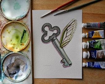 Harry Potter inspired Flying Key - Original Watercolor