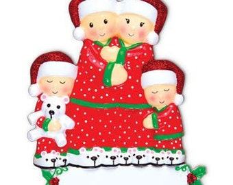 Personalized Christmas Pajamas  Ornament , Grandparents-Family of Four, New Parents, Grandkids, Co-workers, Friends