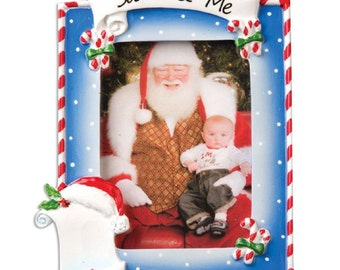 Personalized Santa & Me Picture Frame Christmas Ornament Baby's First Christmas - Great for Neighbors,Grandkids, Co-workers, Staff, Crew