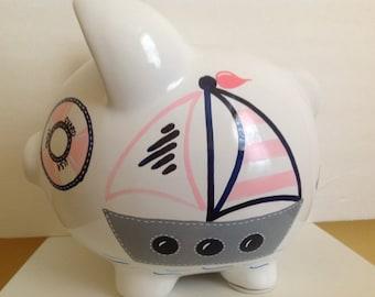 Personalized Large piggy Bank Pink / Navy  blue Nautical, Anchor, Sailboat Newborn, Baby Shower, Ring Bearer, Flower Girl, Christening Gift