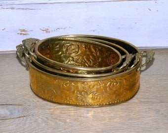 A Trio Of Vintage Brass Planters - Containers - Embossed Roses Design