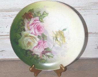 Jaeger J & C Bavaria - Rose Antique Porcelain Plate - 1900