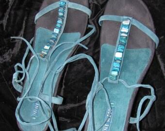 Vintage 90s Nine West Shoes - Cobalt Blue Suede Open Toed Pumps -