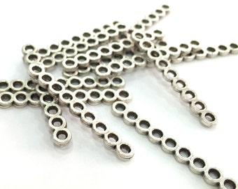 10 Pcs Antique Silver Plated Brass Separators , Findings  G4046