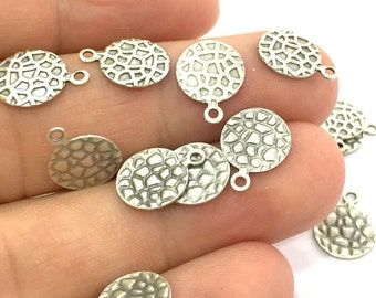 20 Pcs (10mm) Antique Silver Plated Brass Tag Charms   G4660