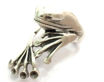 Adjustable Ring Blank, (3mm blank ) Antique Silver Plated Brass G5905