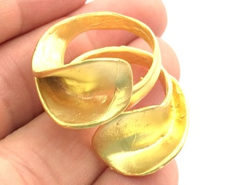 Gold Plated Ring Blank Bezel Setting Ring Base(6mm blank ) Adjustable  Gold Plated Brass G5940