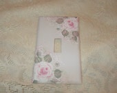 Judy's Custom Ordered Shabby Cottage Chic Hand Painted Pale Rose Light Switch Cover