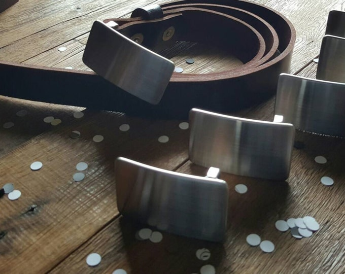 """Wedding Party Belt N Buckle SET Brushed Stainless Steel Hypoallergenic Belt Buckle & Mahogany Leather Belt 1.25"""" Wide with Snaps Custom Cut"""