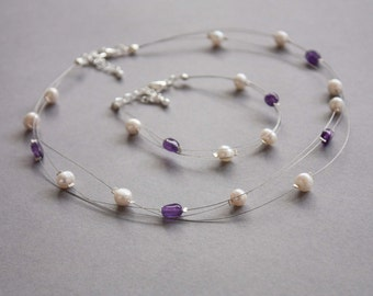 Amethyst and freshwater pearl illusion necklace and bracelet set, floating multi strand jewellery set