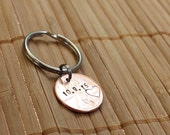 Lucky Penny, Personalized, Hand Stamped Save The Date Wedding Anniversary Penny Keychain