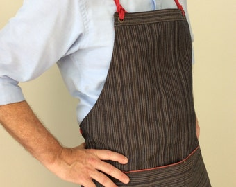 Full Apron  Man Brown Stripes Japanese Denim Chef Selvedge Denim