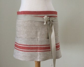 Linen Apron Half Apron Linen Lithuanian Linen Red Striped