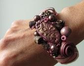Red Boho Assemblage Bangle Bracelet, Upcycled Jewelry, Beaded Collage Rose Bracelet, Mori Girl Fashion, Shabby Chic Flower Bracelet