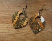 Recycled Paper Boho Bunnie Rabbit Earrings, Leaf Shape Wooden Earrings, Upcycled Children's Book Art, Woodland Animals, Forest Creatures