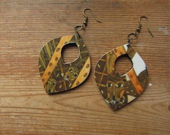 Recycled Paper Earrings, Wooden Bunnie Earrings, Brown Rabbit Earrings, Boho Chic Earrings, Mori Girl Accessories, Paper and Wood Jewelry