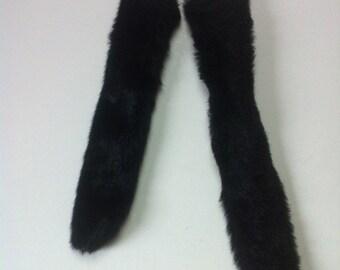 """Black Faux Fur Tail - One Faux Fur Tail - sizes 14""""or 17""""  - Clip on Fur Tail -Black fur tail"""
