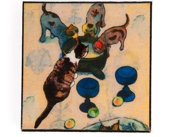 Refrigerator Magnet, Cat Art, Whimsical Art, Fridge Magnets, Gauguin, Kitchen Magnets, Cat Gifts, Deborah Julian