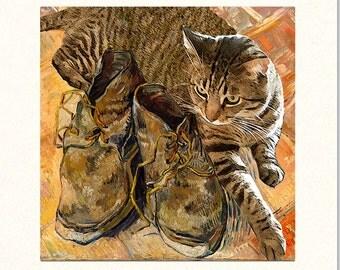 Cat Greeting Cards, Cat Note Cards, Vincent Van Gogh, Tabby Cat, Blank Note Cards, Gray Tabby Cat, Deborah Julian