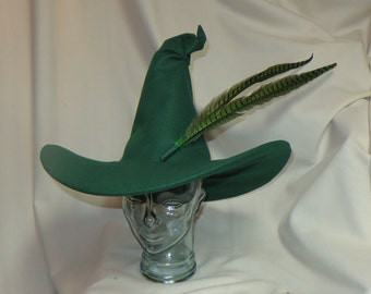 Green Witch Hat- Felt Hat with Wired Brim and Pheasant Feathers