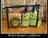 Natural Herbal Shampoo & Conditioner - Herbal Soap - Travel bath set